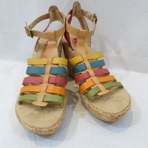 KORKS by Kork-Ease Wedge Rainbow Sandals Leather